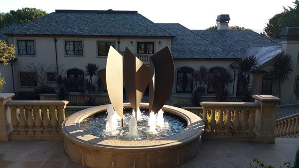 Custom metal fabrication outdoor fountain